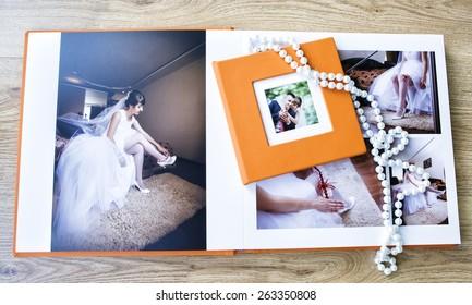 Wedding photo book spread and CD box