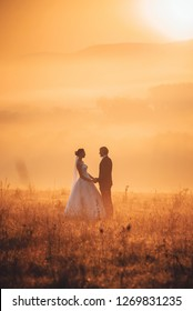 Wedding photo, bride and groom in autumn nature