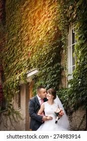 Wedding photo.  Happy bride and groom