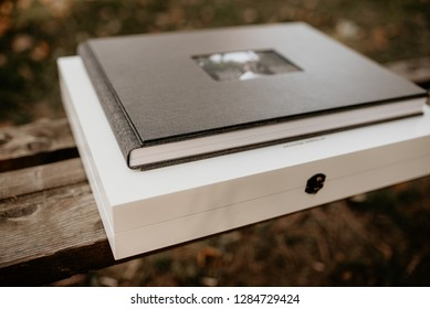 Wedding photobook with a cover of leatherette. Soft focus.