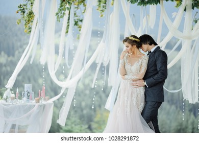 wedding photography in the Carpathians. Wedding ceremony in the forest
