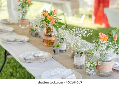 Center piece for wedding tables images stock photos vectors wedding place settings with flowers burlap and plates backyard do it yourself wedding solutioingenieria Images
