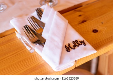 Wedding placemat with personalised name made from wood 1.