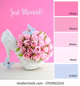 Wedding Planner Color Palette inspired by pink and white theme bridal shoes and bouquet. Designer pack with photograph and swatches with hex codes references.