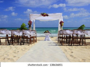 Wedding preparation on Mexican beach against a background of beautiful sea and blue sky