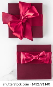 Wedding present, shop sale promotion and love celebration concept - Gift boxes on marble background, holiday flatlay