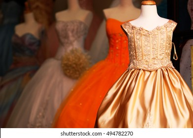 Wedding quinceanera gowns on mannequins