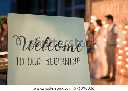 Wedding Reception Board Welcome Sign On Stock Photo Edit Now