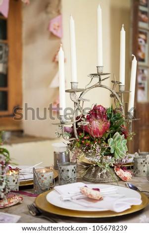 Wedding Reception Decor Details Flowers Table Stock Photo (Edit Now ...