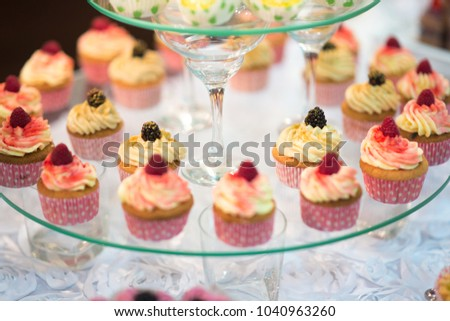 Wedding Reception Dessert Table Delicious Decorated Stock Photo