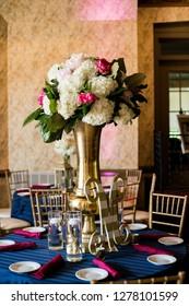Wedding reception floral arrangement centerpiece