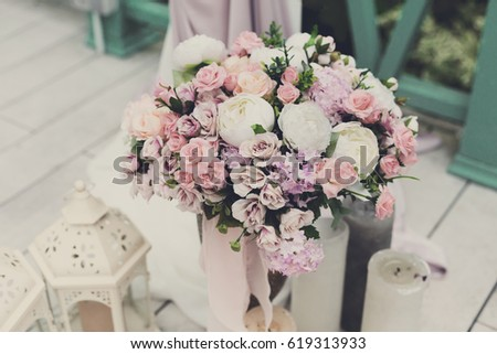 Wedding Reception Flower Decorations Rustic Style Stockfoto Jetzt