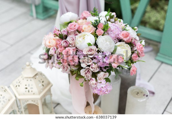 Wedding Reception Flower Decorations Rustic Style Stock Image