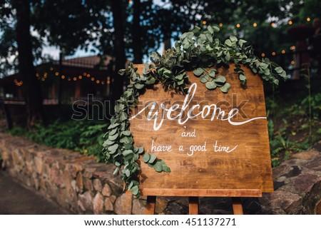 Wedding Reception Handmade Wooden Board Welcome Stock Photo Edit