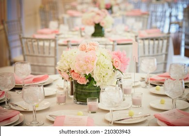Wedding reception room interior, focus on centerpiece