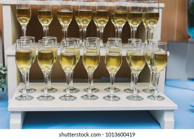 Wedding reception, slide with glasses of champagne