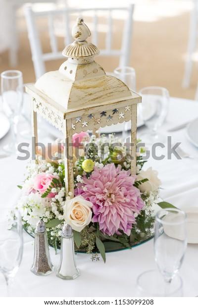 Wedding Reception Table Centerpiece Lantern Flowers Royalty Free