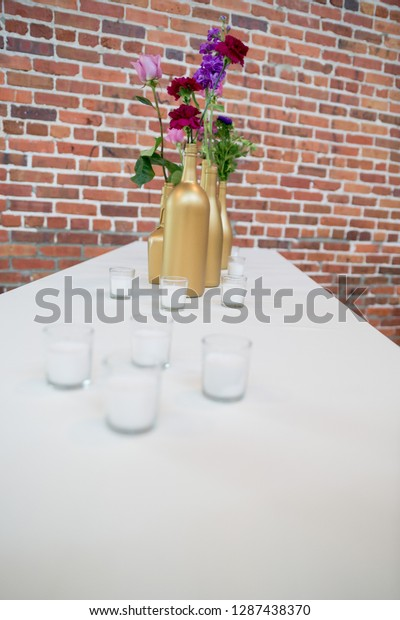 Wedding Reception Table Centerpieces Featuring Purple Stock Photo ...
