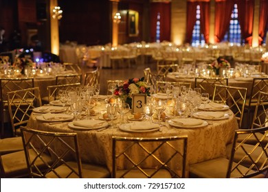 wedding reception table set for dinner