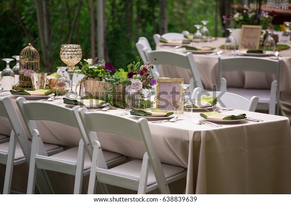 Wedding Reception Table Setting Stock Photo (Edit Now) 638839639