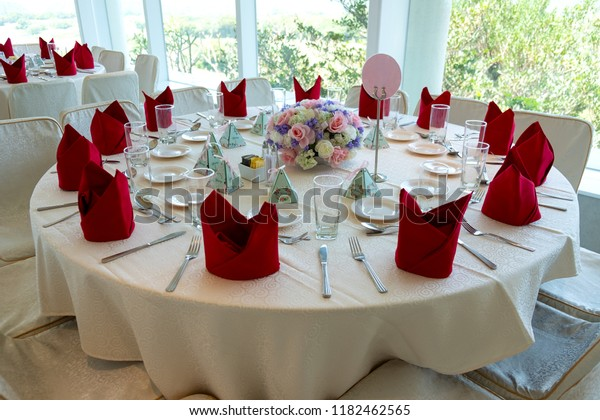 Wedding Reception Table Table Setting Flowers Stock Image