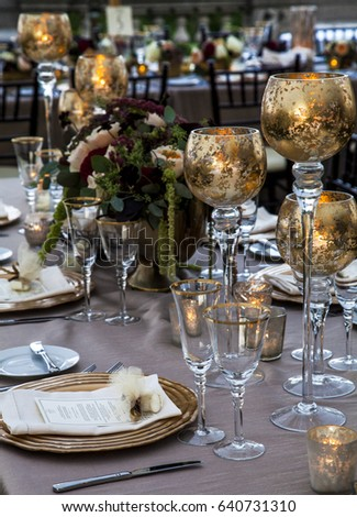 Wedding Reception Table Setting Including Copper Stock Photo (Edit ...