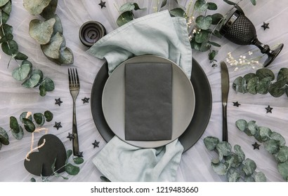 Wedding reception table setting with rustic shabby chic decorations. Flat lay, top view, copy space