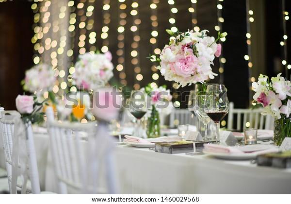 Wedding Reception Tables Decorations Setup Flowers Stock Photo ...