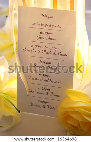 Wedding Reception Timeline Card Stock Photo Edit Now 16364698