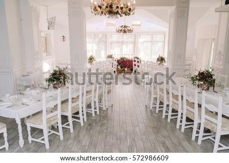 Wedding Restaurant Decoration White Clean Design Stock Photo Edit