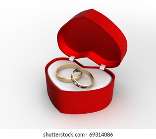 wedding ring in a gift box with a white background