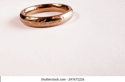 """Wedding ring with inscription say """"We feel the same"""""""
