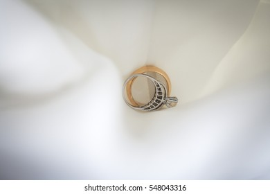 Wedding ring with white bride dress