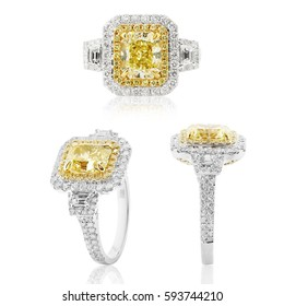 Wedding ring with yellow and white diamonds Jewelery with gemstone