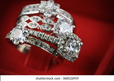 Wedding rings background, beautiful silver ring in red box for wedding concept.