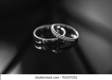 wedding rings. black and white BW picture