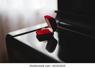 Wedding rings in a box.