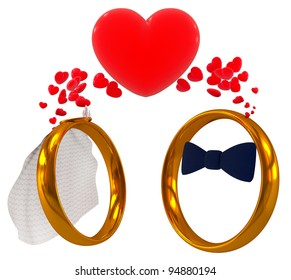 wedding rings - bride and bridegroom, 3d render isolated on white