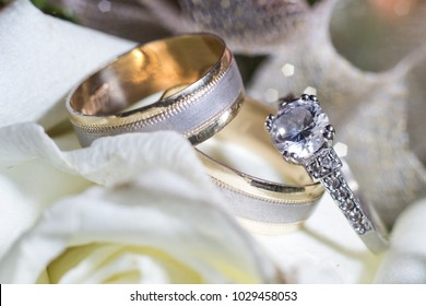 wedding rings close up