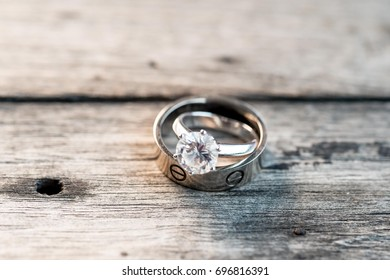 Wedding rings close up in rustic style,Diamond ring