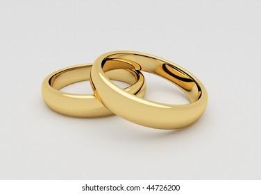 Wedding rings close up,3d render