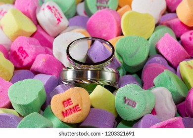 Wedding rings in conversation heart Valentine's Day candy