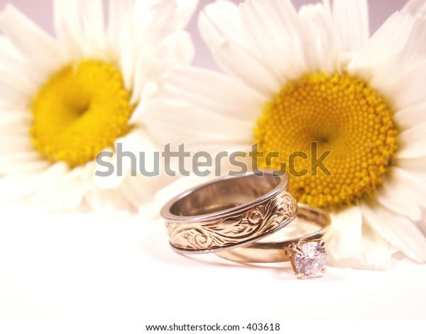 wedding rings with daisy faded in background.