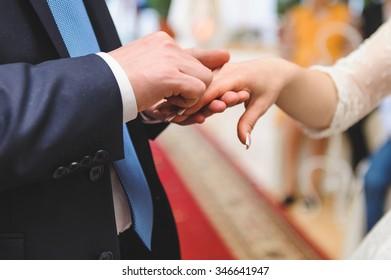 wedding rings exchange at ceremony