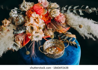wedding rings flowers decoration colorful