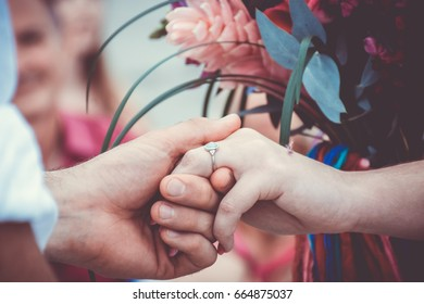 Wedding Rings Hands Ceremony Bouquet
