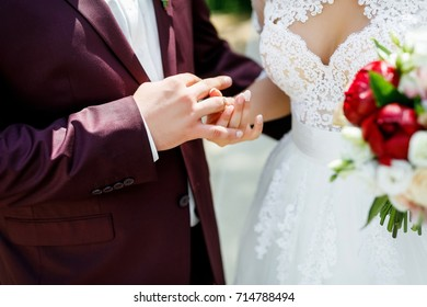 Wedding rings in the hands of the newlyweds. Hands of a man and a woman. Golden Love Symbols