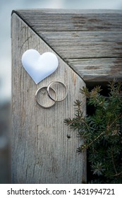 wedding rings  with heart on a frame