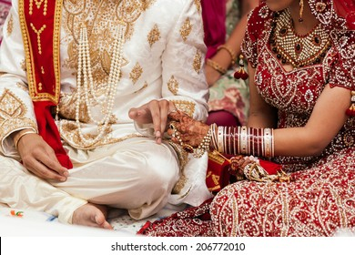 Wedding rings at the indian ceremony