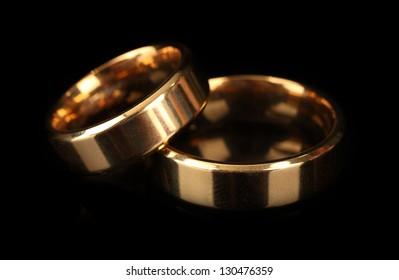 Wedding rings isolated on black